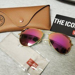 ⛖♼ Ray-Ban Rb3025 Aviator Sunglasses Cyclamen Pink